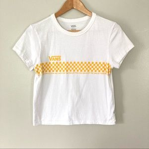 Vans Cropped Checkered Tee Short Sleeved White Yellow Small
